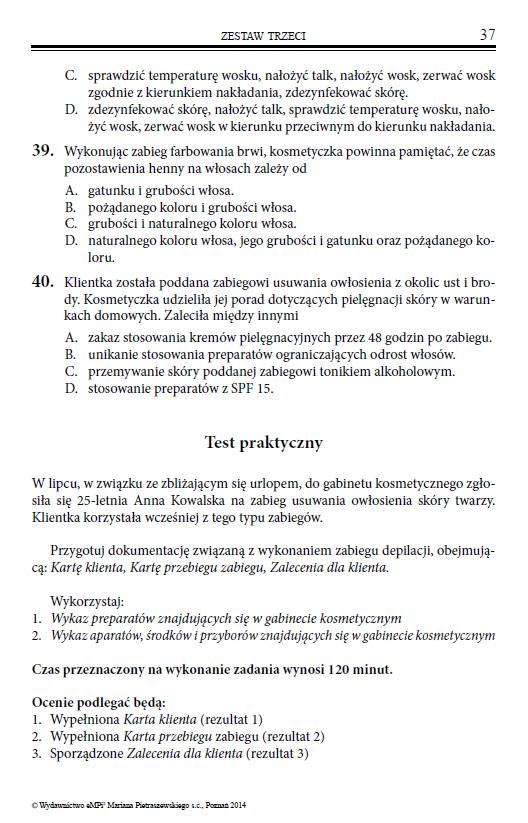Testy Przygotowujace Do Egzaminu Z Kwalifikacji A 61 Wykonywanie